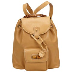 Gucci Beige Bamboo Calf Leather Drawstring Backpack