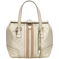Gucci White Guccissima Leather Treasure Boston Bag
