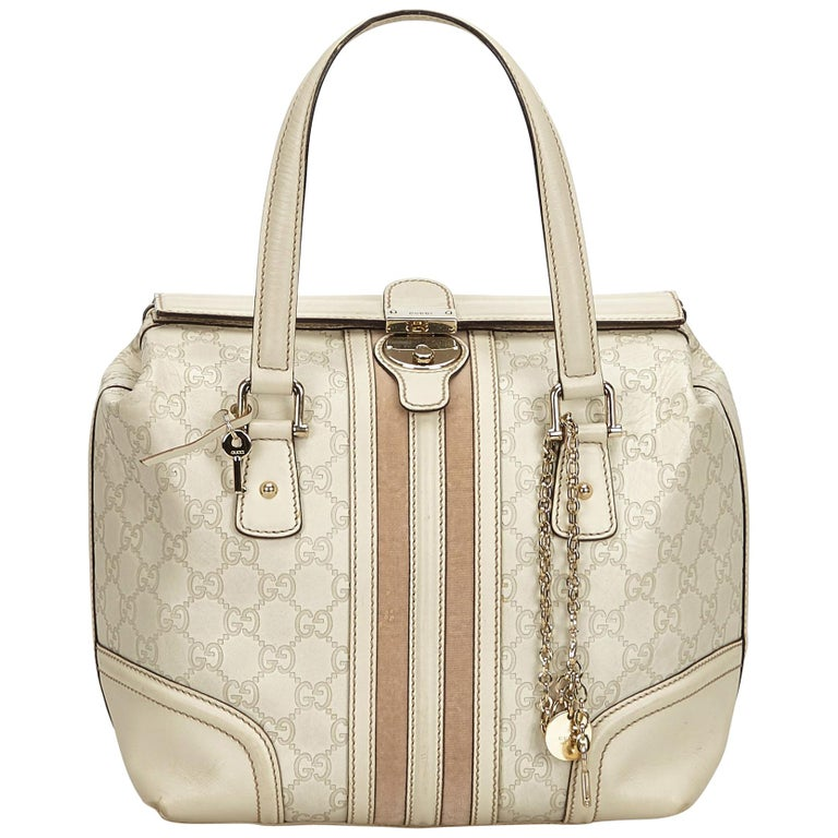 Gucci White Guccissima Leather Treasure Boston Bag For