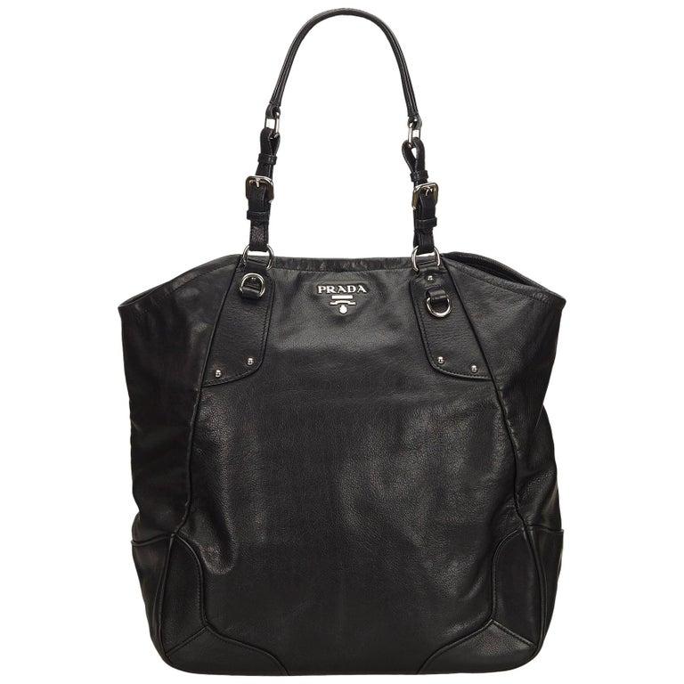 a5e1dd60d43a Prada Black Leather Tote Bag at 1stdibs