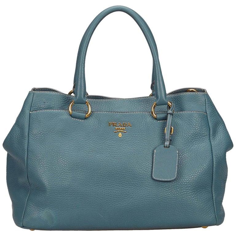 abd888ef8 Prada Blue Leather Handbag at 1stdibs