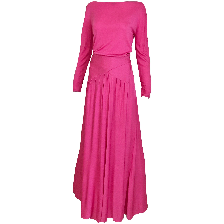 Geoffrey Beene Vintage Hot Pink Matte Jersey Blouse Skirt Set