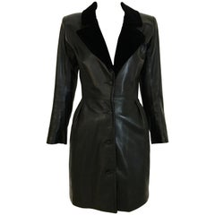 Yves Saint Laurent Vintage Black Leather Mini Dress