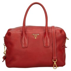 Prada Red Vitello Daino Leather Satchel