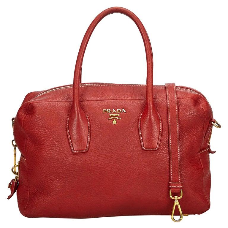aaa1d455c1bc Prada Red Vitello Daino Leather Satchel at 1stdibs