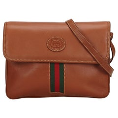 Gucci Brown x Multi Leather Web Crossbody Bag