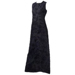 Vintage Dynasty Evening Gown Long Black Beaded Dress From I Magnin