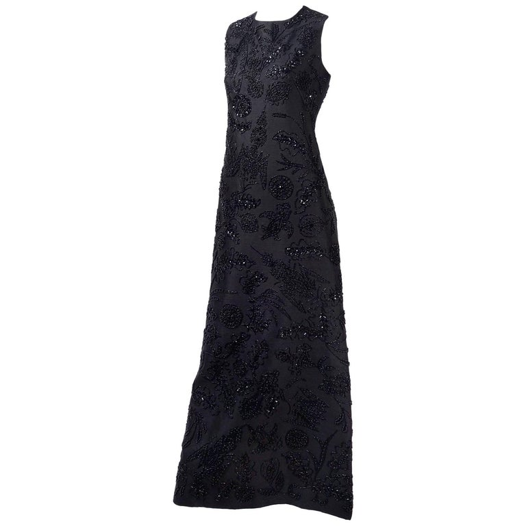 Vintage Dynasty Evening Gown Long Black Beaded Dress From I Magnin ...