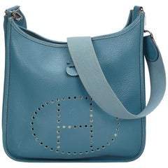 Hermes	Blue	Leather Evelyne II PM