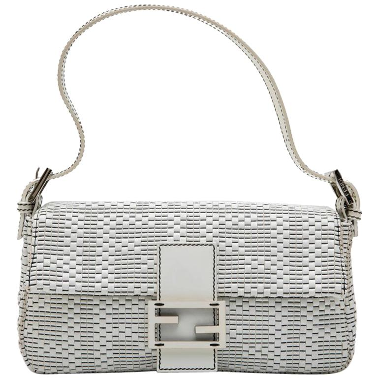 dd21960cb4 FENDI Baguette Bag in White and Black Patent Leather