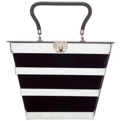 Dorset Rex Fifth Avenue Chrome Lucite Black Velvet Top Handle Bag, Circa 1950s