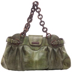 Salvatore Ferragamo Olive Green Lizard With Wood Link Straps Handbag