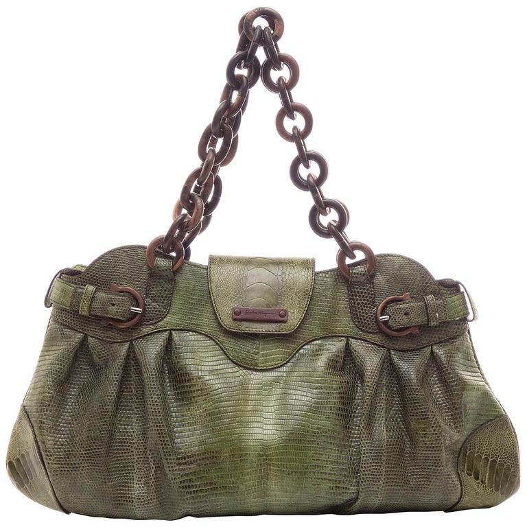 342d2c012ed5 Salvatore Ferragamo Olive Green Lizard With Wood Link Straps Handbag For  Sale