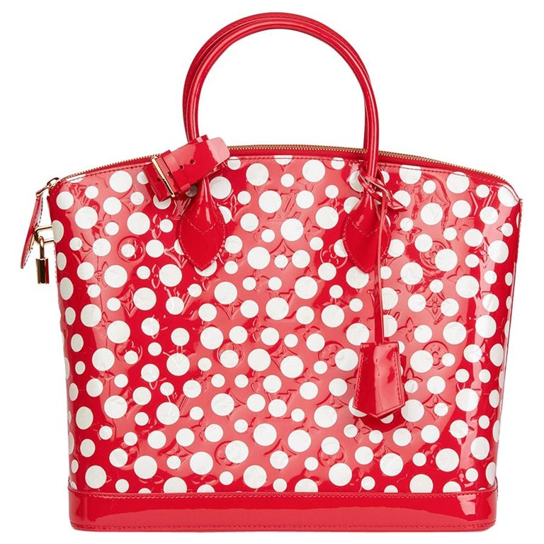 2012 Louis Vuitton Red Vernis Leather Dots Infinity Yayoi Kusama Lockit MM For Sale