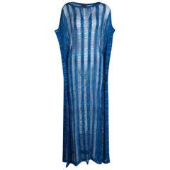 Missoni Blue Chevron Crochet Knit Kaftan Maxi Dress