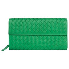 2010s Bottega Veneta Irish Green Woven Lambskin Continental Wallet