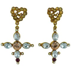 Christian Lacroix Vintage Jewelled Heart and Cross Dangling Earrings
