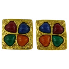 Yves Saint Laurent YSL Vintage Multicolored Resin Heart Clip-On Earrings