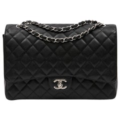 Chanel Maxi Jumbo Black Quilted Caviar Leather Double Flap Bag