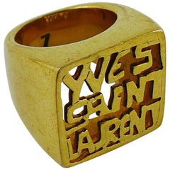 Yves Saint Laurent YSL Vintage Gold Toned Signet Ring Size 7