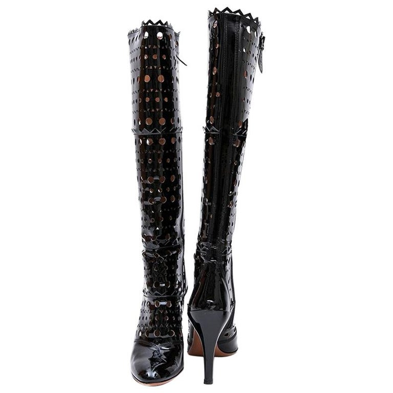 Alaia Black Patent Perforated Leather Boots  For Sale