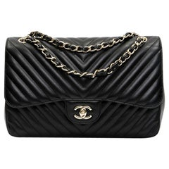CHANEL Classic Jumbo Double Flap Bag in Black Lambskin Chevron Leather