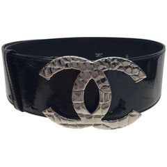 Chanel Black Patent Leather Belt with Silver Hardware