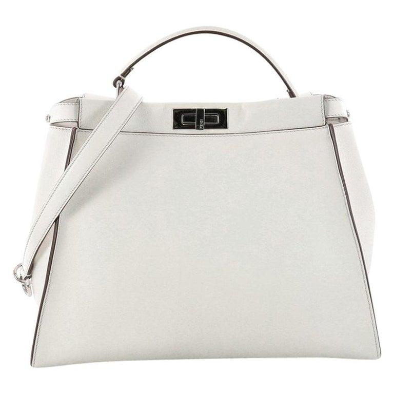 6ed97bfbe021 Fendi Peekaboo Monster Handbag Leather with Fur Interior Large For Sale