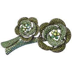 Butler and Wilson Large Two Tone Green and Aurora Borealis Crystal Brooch