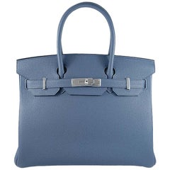 Hermes 30cm Blue Brighton Birkin Bag