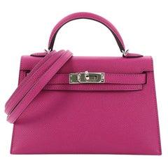 Hermes Kelly Mini II Handbag Anemone Epsom with Palladium Hardware 20