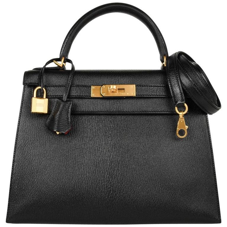 824e6f997148 Hermes Kelly 28 Bag HSS Sellier Black Chevre Vermillion Interior Brushed  Gold For Sale