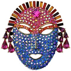 Butler & Wilson Modern Multi Colour Crystal Mask Face Brooch