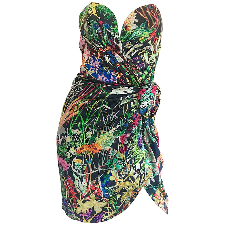 Vintage Vicky Tiel Couture Botanical Print 80s Size 6 / 8 Silk Strapless Dress For Sale
