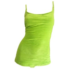 Size 14 Oscar de la Renta Neon Lime Green One Piece 60s Style Swimsuit Bodysuit