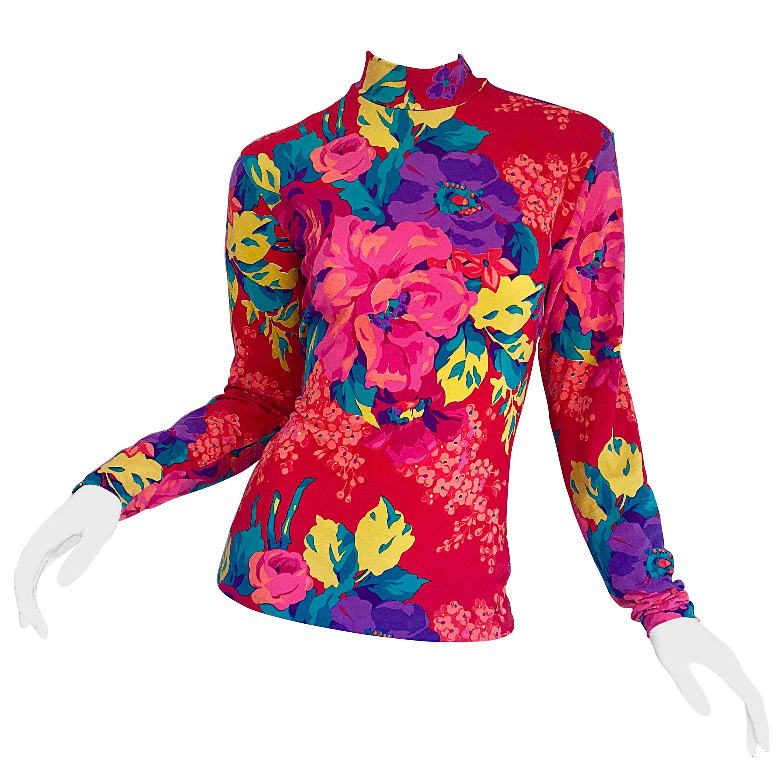 1980s Betsey Johnson Punk Label Flower Print Long Sleeve Vintage 80s Top