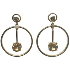 New Oscar de la Renta Gold Rhinestone Drop Pendant Hoop Pierced Earrings