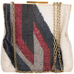 Pierre Cardin Vintage Micro-Beaded Evening Bag with Gold Hardware, 1960s
