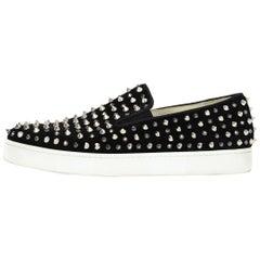 Christian Louboutin Black Roller 1C1S Slipon Spike / Crystal Sneakers