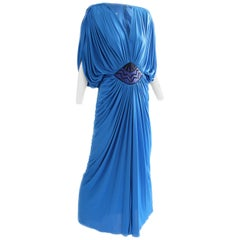 Tadashi Early Draped Cerulean Goddess Evening Gown With Embellished Waist