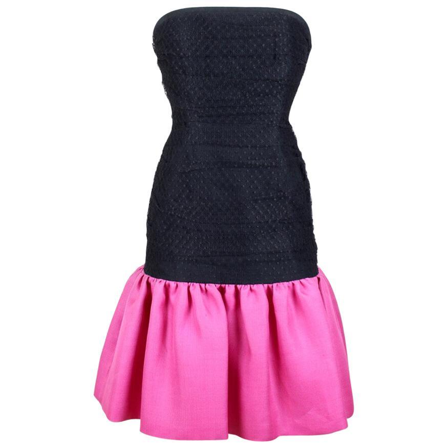 Spring/Summer 1987 Yves Saint Laurent Runway Black and Pink Strapless Dress