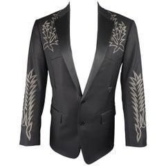 RALPH LAUREN 38 Black Western Cowboy Embroidered Wool Sport Coat Jacket