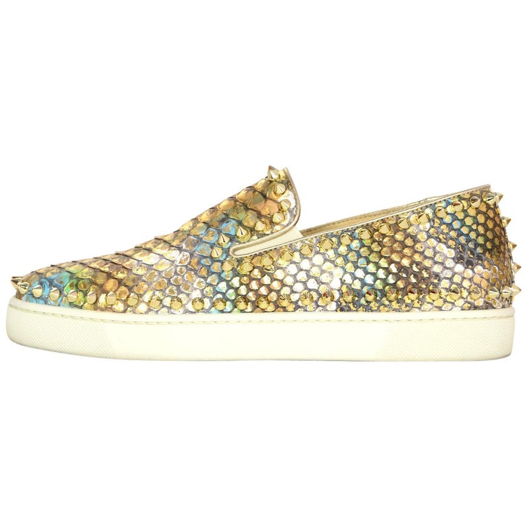 38ca316c43ab Christian Louboutin Metallic Python Studded Pik Boat Slip-On Sneakers sz  38.5 For Sale