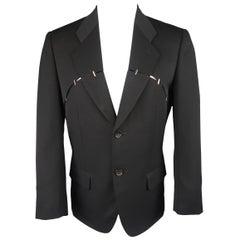 Issey Miyake Black Wool Studded Slit Cutout Sport Coat Jacket