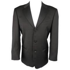 VALENTINO 38 Black Wool Satin Notch Lapel Tuxedo Sport Coat Jacket