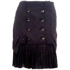 John Gallianos Accordion Pleated Hem Wool Skirt