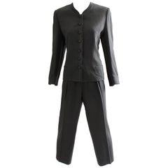 90s Sonia Rykiel Black Crepe Jacket & Pants Power Suit 2pc Satin Trim Sz M/L