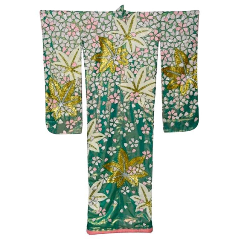 Iridescent Silk Sequin Vintage Uchikake Kimono, Circa 1960s
