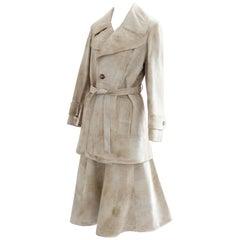 Lony G by Gropper Suede Leather Jacket & Skirt Suit 2pc Vanilla Tan Sz L Vintage