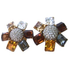 Ciner Autumn Crystal Large Scale Clip on Floral Earrings Circa 1980